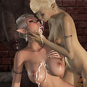 Two elves suck a black monster cock