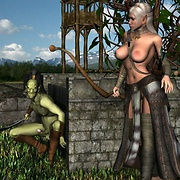 Horny fantasy creatures love to fuck elf warrior babes