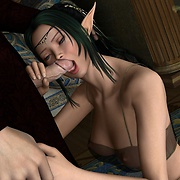 Lustful elf sucks dick with her soft lips